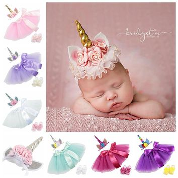 POSH DREAM Unicorn Baby Girl Tutu Skirt Headband Skirt Foot Flower Baby Girls Tutu Skirt for Birthday Photograph Baby Girl Skirt