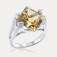 925 Silver Ring with Green Citrine