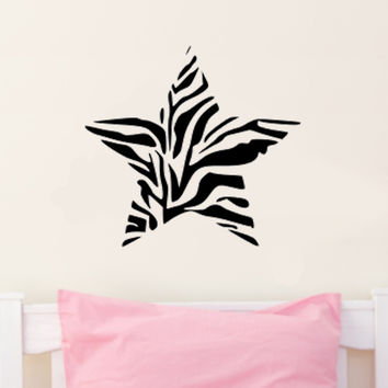Zebra Print Star Wall Decal Sticker Art