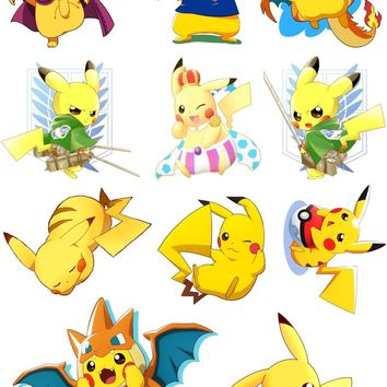 Pikachu  Stickers For Laptop Phone Luggage Bicycle Ornament Motorcycle Anime PVC Waterproof Sticker Fashion DIYKawaii Pokemon go  AT_89_9