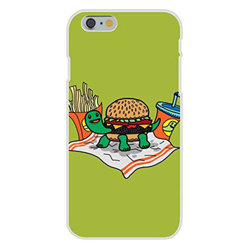 Apple iPhone 6 Custom Case White Plastic Snap On - 'Turtle Burger' Funny Turtle Shell Bun Burger w/ Fries Meal