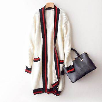 Autumn Winter V Neck Long Knitwear Fashion Women's Clothing Cardigan Assorted Colors Sweater Loose Preppy Style Coat