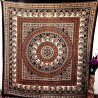 Floral-indian-brown-tapestry-wall-hanging