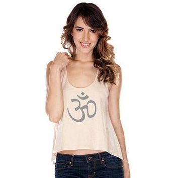 Womens AUM Symbol Lace Back Tank Top
