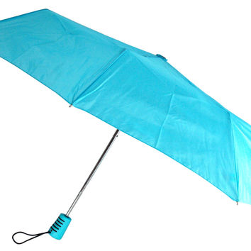 "Totes Automatic Blue Teal Umbrella 42"" Large Auto Open Travel Compact Mini Folds"
