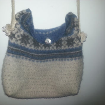 Vintage Wool Boho Hippie Messenger Bag