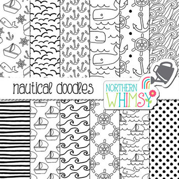 Black and White Nautical Digital Paper -  doodle ship / boat, whale, wave & anchor seamless patterns - scrapbook paper - commercial use OK