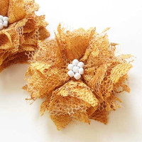 Gold Flower Hair Accessories, Lace Flowers Hair Clips, Bridesmaids Hair Accessories Honey Gold Fabric Flowers Hair Pieces White Beads, Gifts