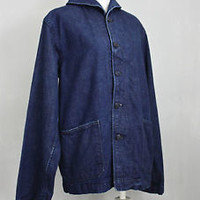 VINTAGE Military US Navy Dark Denim Shawl Collar Chore Jean Jacket| Small |WWII