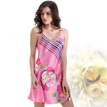 DCCKU62 Satin Silk Nightgown Floral Print Chemise Women Silk Nightwear Pink Silk Home Gown for Girls