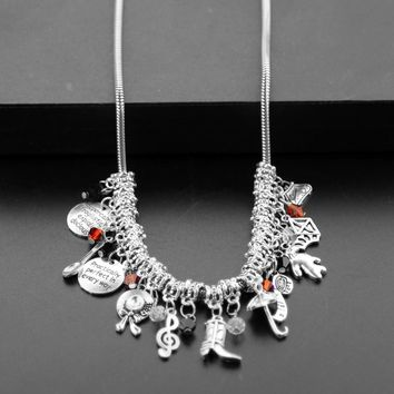 DIY The Mary Poppins Choker Pendant &Necklace With Hats, Boots, Umbrellas,Shoes, Spoons, tape measure Crystals Jewelry for Women