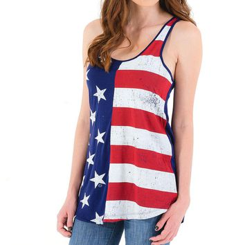 2017 Summer Stars Printed Long Striped Vest Cotton Sleeveless Top Tank American Flag Front Lady Beach Vest Blue Red