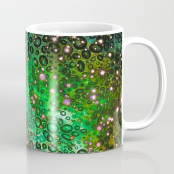 RAINBOW DOTTY OCEAN 3 Green Lime Ombre Space Galaxy Colorful Polka Dot Bubbles Abstract Painting Art Mug by EbiEmporium