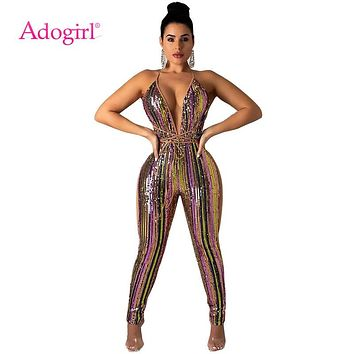 Adogirl Colorful Stripe Sequins Bandage Jumpsuit Sexy Deep V Nec 516171856a04