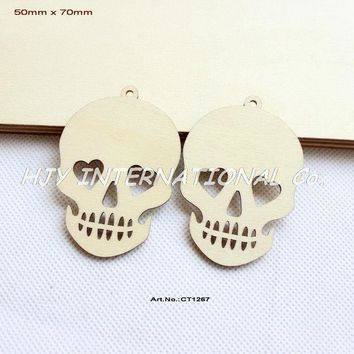 (60pcs/lot) 70mm Unfinished Blank Wood Skull Pendents Halloween Necklace Tags With Strings 2.8' Ct1267