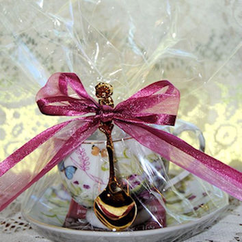 4 White Butterfly Teacup (Tea Cup) Favors