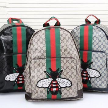 Gucci Unisex Trending Casual Fashion Classic Print Multicolor Stripe Bee Embroidery Backpack Large Capacity Travel Double Shoulder Bag G-2