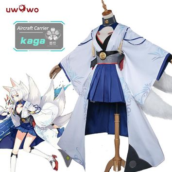 UWOWO Kaga Azur Lane Cosplay Anime Azur Lane Costume Kaga Fox Kimono Cosplay Costume Women