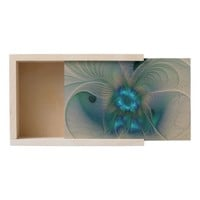 Standing Ovations, Abstract Blue Turquoise Fractal Wooden Keepsake Box