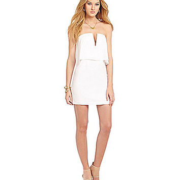 BCBGMAXAZRIA Kate Strapless Popover Dress - White