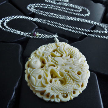 Hand Carved Dragon Necklace - Bone Pendant - Chinese Dragon - Dragon Amulet - Carved Bone Jewelry - Dragon Necklace - Pendant Necklace