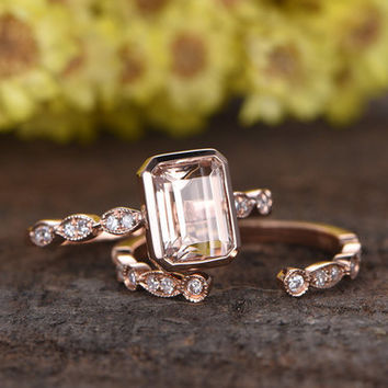 6x8mm Emerald Cut Pink Morganite engagement ring set,Marquise diamond wedding band,2pcs deco bridal rings,14k rose gold ring,promise ring