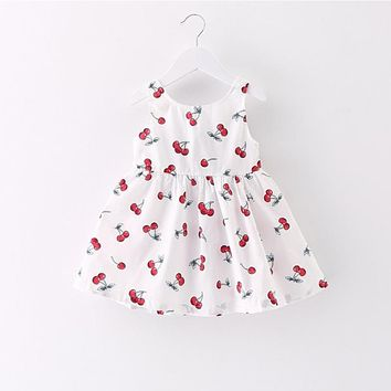 Spring Summer Fall Cotton and Linen Sweet Princess Dress Kid Baby Party Wedding Pageant Sleeveless Knee-Length Dresses