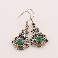 Emerald Sterling Silver Fillagree Earrings