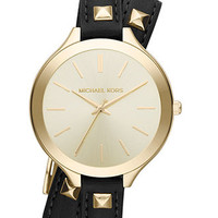 Michael Kors Watch, Women's Slim Runway Gold-Tone Stainless Steel and Black Leather Double Wrap Strap 42mm MK2317 - Watches - Jewelry & Watches - Macy's