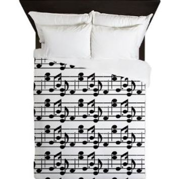 Black Music Notes on White Background Queen Duvet Cover> Music Black and White Notes> Duvet Covers