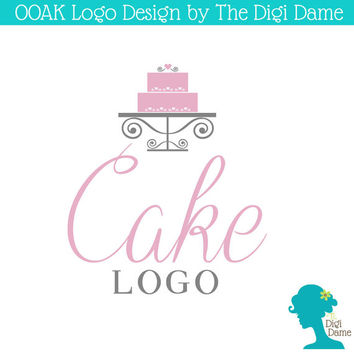 OOAK Premade Logo Design: Wedding/Special Occasion Cake with Hearts on Cake Stand, in Soft Pink and Grey