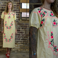 Vintage Yellow and Pink Embroidered Oaxacan Mexican Dress
