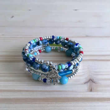 Stack Mixed Beaded Bracelet, Layered Bracelet,Memory Wire Bracelet,Charm Bracelet
