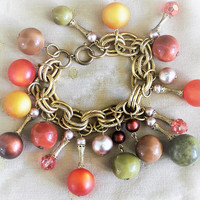 Beaded Cha Cha Link Bracelet In Gold Tone, Autumn Fall Colors