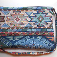 Tribal Purse Bag Zipper Tablet Shoulder Strap Aztec Southwestern Cotton Padded