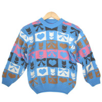 Vintage 80s Hearts & Bows Tacky Ugly Sweater - The Ugly Sweater Shop