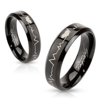 Heartbeat Laser Etched Band Ring With Stainless Steel Black