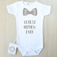 Cutest Nephew Ever Baby Bodysuit. Aunt Baby Clothes. Nephew Gift from Aunt and Uncle. Cute Aunt Gift. Baby Boy Bow Tie Romper