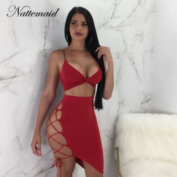 NATTEMAID Two Piece Set Top And Skirt Set Summer 2 Piece Set Women Two Piece Sets 2018 Bandage Bodycon 2 Piece Outfits For Women