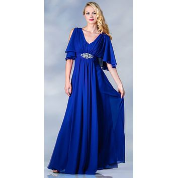 Long Chiffon Grecian Royal Blue Dress Mid Length Sleeves V Neck