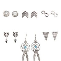 Silver Dreamcatcher & Boho Stud Earrings - 6 Pack by Charlotte Russe