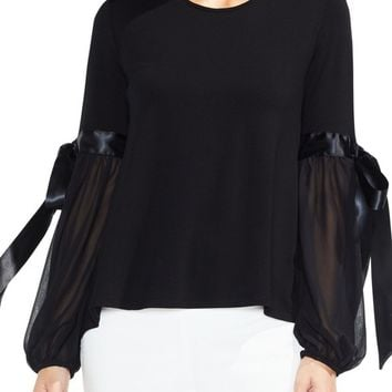 Vince Camuto Tie Sleeve High/Low Chiffon Mix Top | Nordstrom
