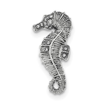 Sterling Silver Rhodium-plated CZ Seahorse Slide Pendant