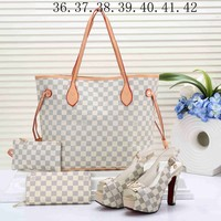 LV Louis Vuitton Stylish Women Classic Shopping Bag Leather Tote Satchel Shoulder Bag Handbag Shoes Wallet Four Piece Suit White I-KSPJ-BBDL