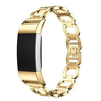 Puscard Luxury Genuine Stainless Steel Bracelet Smart Watch Band Link Loop Replacement Wrist Strap Bangle For Fitbit Charge 2