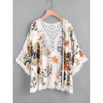 Tropical Print Contrast Hollow Out Crochet Trim Kimono