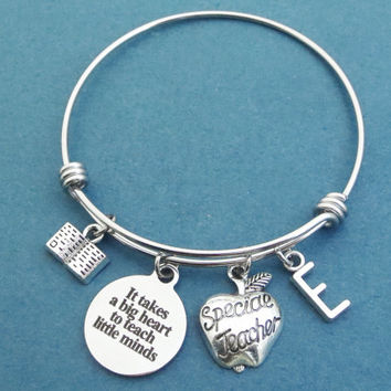 Personalized, Letter, Initial, It takes a big heart to teach little minds, SPECIAL TEACHER, Book, Silver, Bangle, Bracelet, Gift, Jewelry