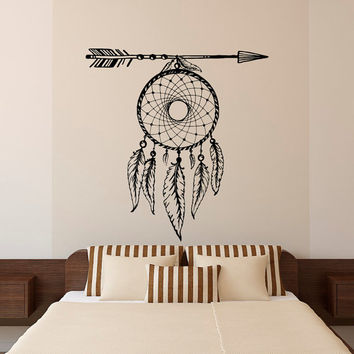 Dream Catcher Wall Decal Arrows Feathers Dreamcatcher Native America Hippie Boho Bohemian Bedroom Dorm Tribal Wall Art Home Decor U016