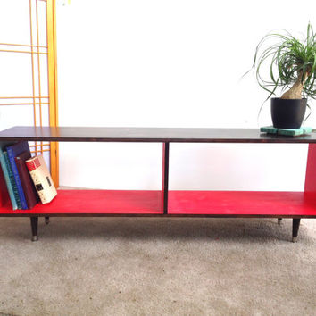 Mid Century Modern Record Vinyl Cabinet Media Table TV Stand Entertainment Cabinet, MCM