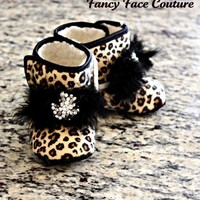 Boutique Leopard Baby Girl Booties Baby Infant Shoes Non Skid with Vintage Crystal Center Size Newborn- 1 year Children- Baby Shower Gift